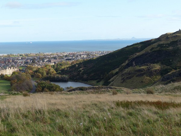 views over St Margaret's loch to the forth