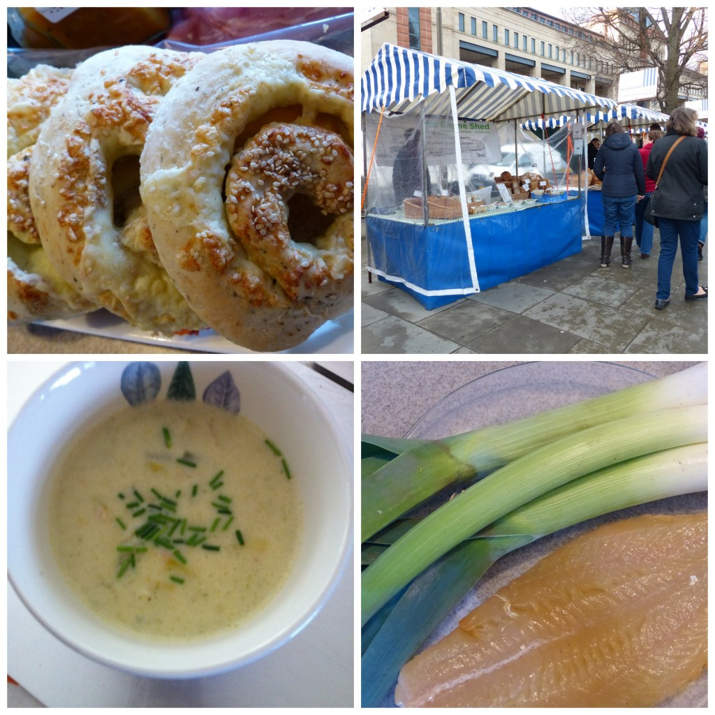 Farmers' Market every Saturday in Edinburgh where you can buy leeks haddock bread