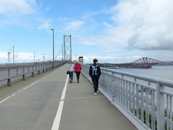 Walking over the Forth Road Bridge