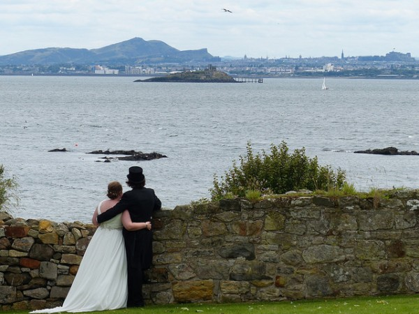 Views from Inchcolm towards Edinburgh and Inchmickery
