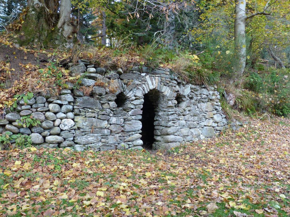 Dunkeld House East grotto on riverbank Tay