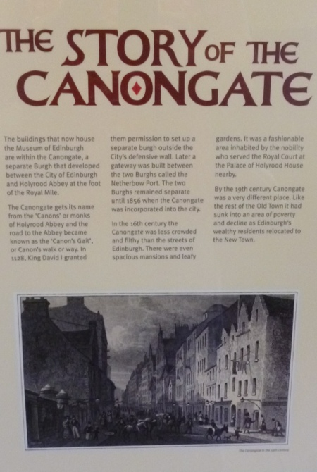 Museum of Edinburgh, Canongate, Edinburgh - story of the area