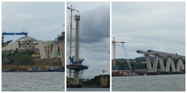 North, South and central views of the construction of Queensferry Crossing