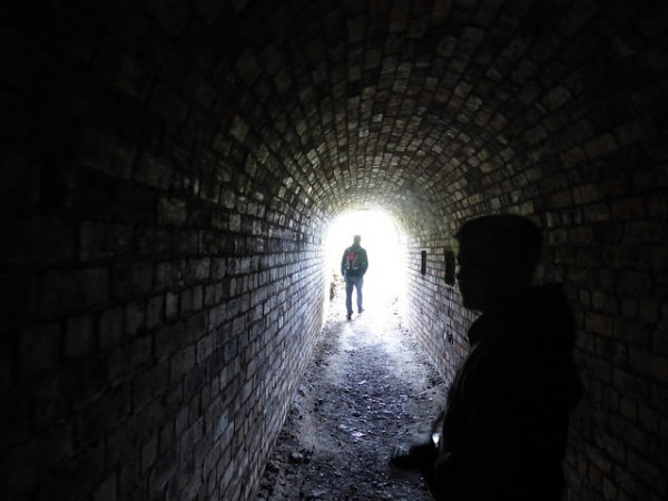 Exploring the tunnels on Inchcolm